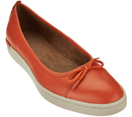 """As Is"" Clarks Artisan Leather Slip-ons with Bow Accent - Cordella Alto"