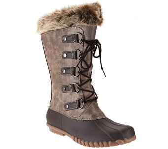 """As Is"" WearEver Lace-up Boots with Faux Shearling - A283832"