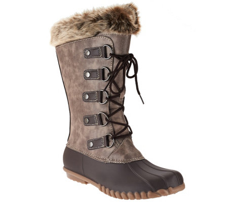 """As Is"" WearEver Lace-up Boots with Faux Shearling"