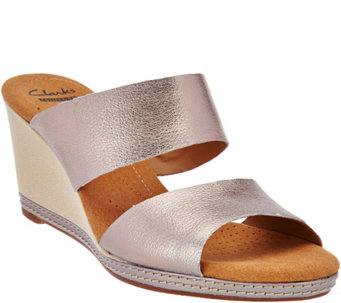 """As Is"" Clarks Leather Double Band Slide Wedge Sandals - Helio Lily - A285532"