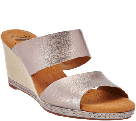 """As Is"" Clarks Leather Double Band Slide Wedge Sandals - Helio Lily"