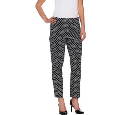 """As Is"" Susan Graver Printed Uptown Stretch Side Zip Slim Leg Ankle Pants"