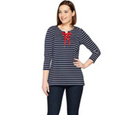 Susan Graver Weekend Striped Cotton Modal Top with Lacing