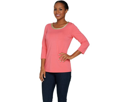 Belle by Kim Gravel Lurex Chain Trim 3/4 Sleeve T-shirt