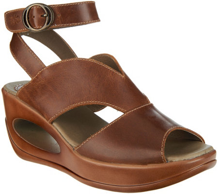 FLY London Leather Ankle Wrap Wedge Sandals - Hibo