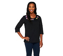 """As Is"" Quacker Factory 3/4 Sleeve Pretty Pansies T-shirt - A290632"