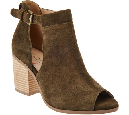 """As Is"" Sole Society Suede Peep-Toe Ankle Boots - Ferris"