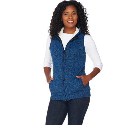 """As Is"" Denim & Co. Zip Front Hooded Sweater Vest with Sherpa Lining"
