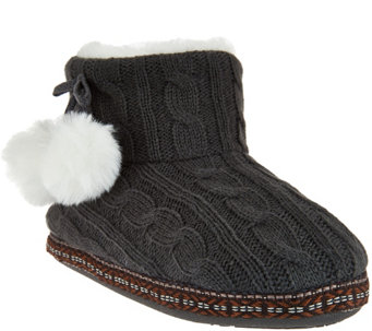 """As Is"" Cuddl Duds Faux Fur Lined Ankle Bootie Slipper w/ Foam Insole - A292232"