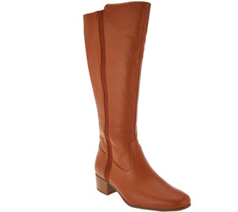 """As Is"" H by Halston Tall Shaft Leather Boot w/Goring - Sasha - A293032"