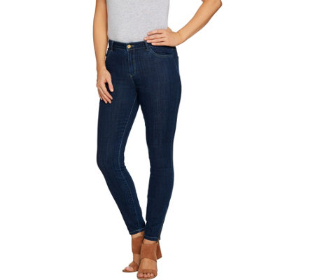 """As Is"" LOGO by Lori Goldstein 5-Pocket Skinny Jeans with Zipper Detail"
