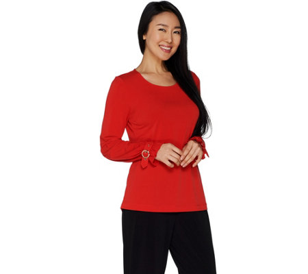 Susan Graver Liquid Knit Long Sleeve Top with Buckle Cuffs