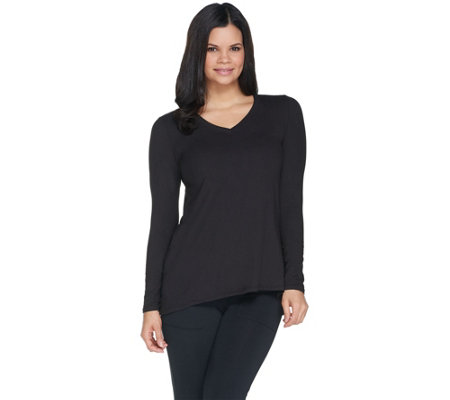 Cuddl Duds Flexwear Long Sleeve V-Neck Swing Top