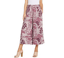 LOGO by Lori Goldstein Printed Pull-On Wide Leg Pant w/ Side Slits - A305432