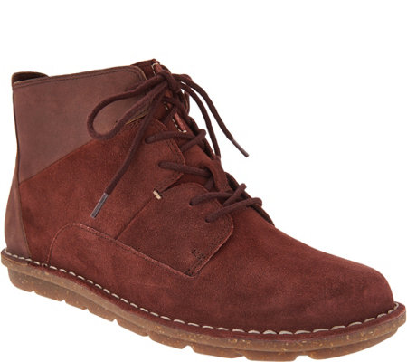 """As Is"" Clarks Leather & Suede Lace-Up Ankle Boots - Tamitha Key"
