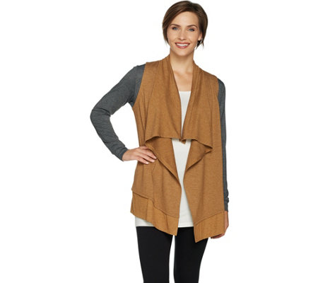 """As Is"" LOGO Lounge by Lori Goldstein French Terry Cardigan w/Rib"