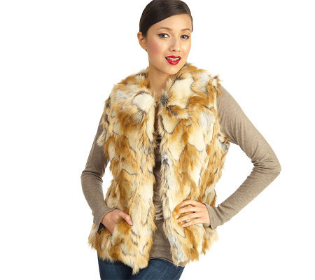 Luxe Rachel Zoe Faux Fur Vest with Hook & Eye Closure