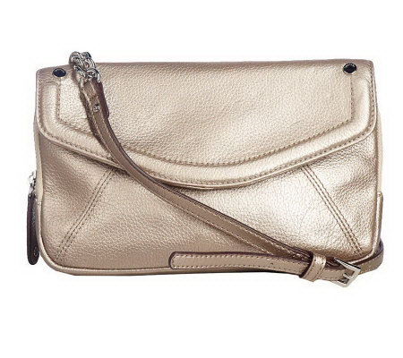 Tignanello Pebble Leather Flap Crossbody Bag with Chain Detail