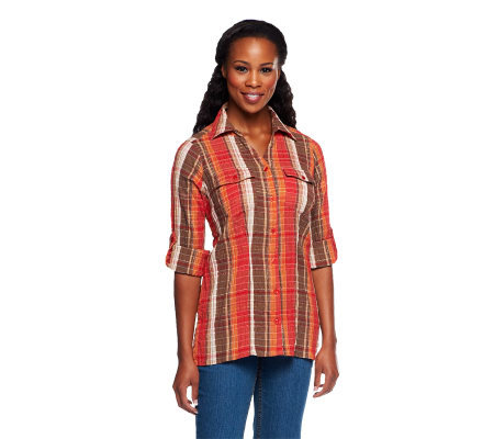 Denim & Co. Button Front Plaid Top with Roll Tab Sleeves