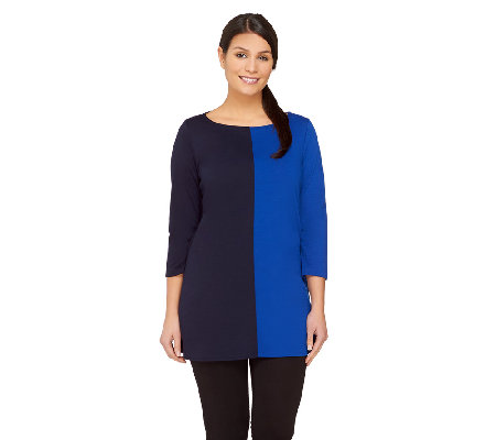 Susan Graver Ponte Knit Color-Block Tunic with 3/4 Sleeves