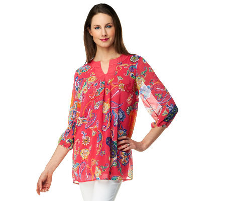 Liz Claiborne New York 3/4 Sleeve Paisley Printed Tunic