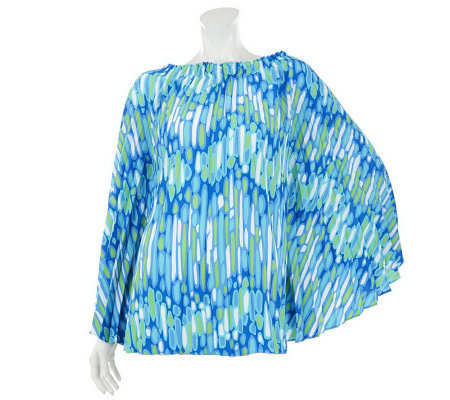 Bob Mackie's Sunburst Pleated Printed Top with Ruching