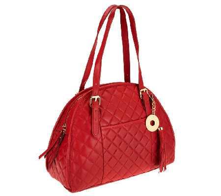 Isaac Mizrahi Live! Bridgehampton Lamb Leather Quilted Satchel