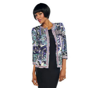 Joan Rivers Moroccan Flair Knit Jacket w/ 3/4 Sleeves - A235133
