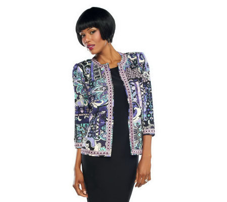 Joan Rivers Moroccan Flair Knit Jacket w/ 3/4 Sleeves
