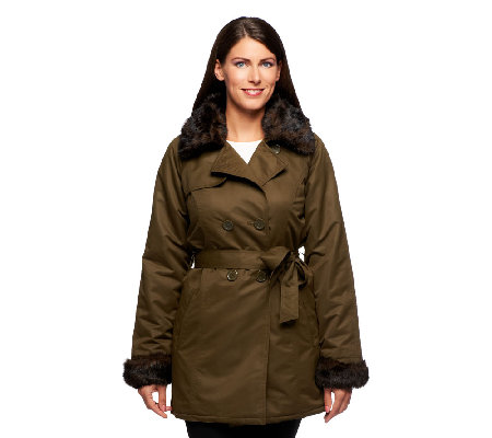 Dennis Basso Water Repellent Belted Jacket w/ Removable Collar & Cuffs