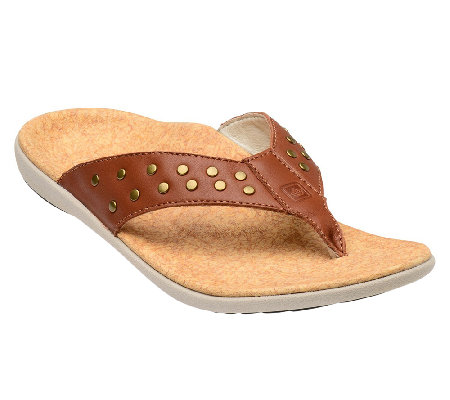 Spenco Crystal Orthotic Leather Thong Sandals