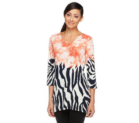 Susan Graver Liquid Knit Border Printed Asymmetrical Hem Tunic