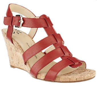 Isaac Mizrahi Live! Adjustable Leather Wedge Sandals - A253533