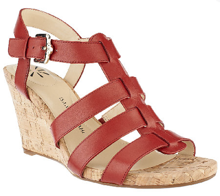 Isaac Mizrahi Live! Adjustable Leather Wedge Sandals