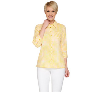 Denim & Co. Gingham Check Button Front Stretch Blouse with Pocket - A253733