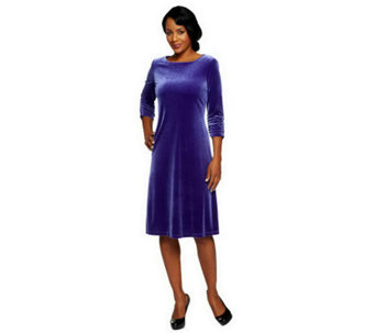 """As Is"" Susan Graver Velvet Swing Dress w/ 3/4 Ruched Sleeves - A254533"