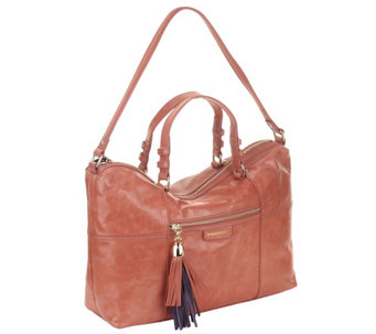 B.Makowsky Kel Glazed Leather Zip Top Satchel - A255333