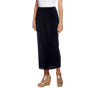 Susan Graver Pleated Knit Pull-on Ankle Skirt - A255433
