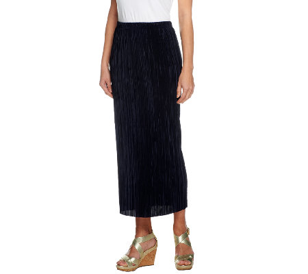 Susan Graver Pleated Knit Pull-on Ankle Skirt
