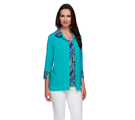 Bob Mackie's Crepe de Chine Solid & Printed Twinset