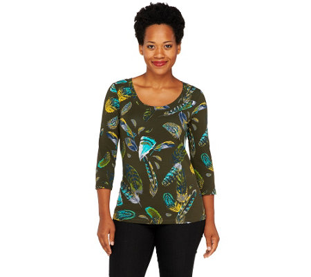 Isaac Mizrahi Live! Feather Print Scoop Neck Knit Top