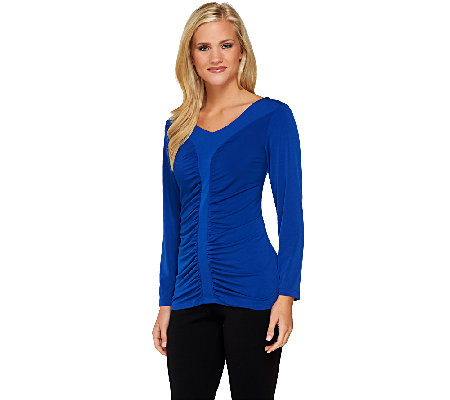 Susan Graver Liquid Knit Long Sleeve Ruched Front V-Neck Top