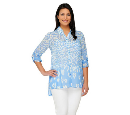 Susan Graver Printed Sheer Chiffon Button Front Shirt w/ Hi-Low Hem