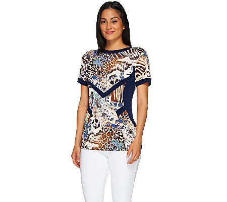 George Simonton Printed Milky Knit Short Sleeve Top