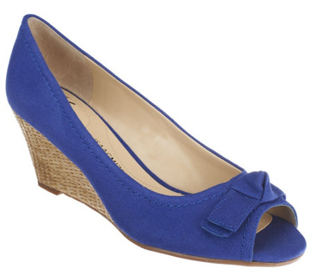 """As Is"" Isaac Mizrahi Live! Canvas Peep Toe Wedges"