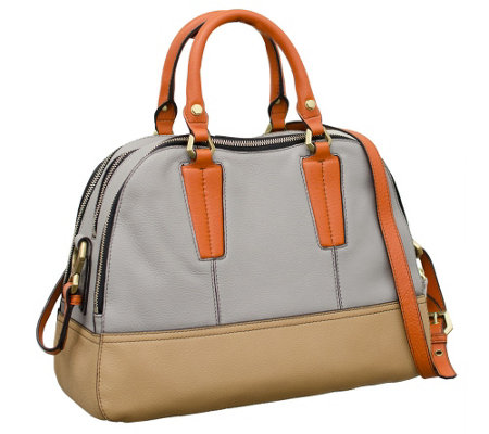 """As Is"" orYANY Leslie Pebble Leather Triple Zip Satchel"