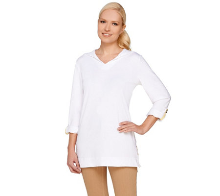 Susan Graver Weekend Cotton Modal Roll Tab Sleeve Top