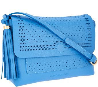 Isaac Mizrahi Live! Bridgehampton Cut-out Leather Crossbody - A264633