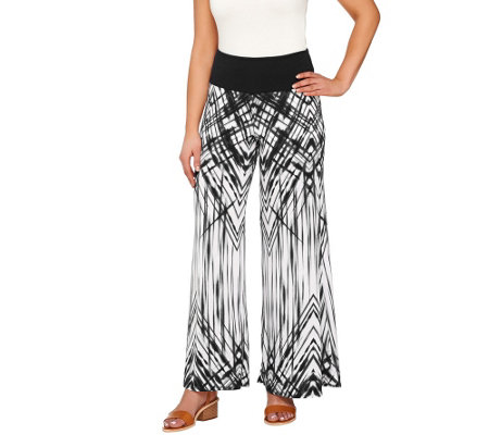 Women with Control Petite Printed Palazzo Pants with Side Slits