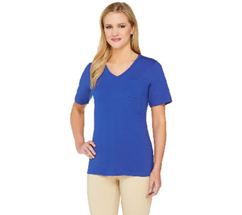 Denim & Co. Essentials Short Sleeve V-neck Top with Front Seam - A265633